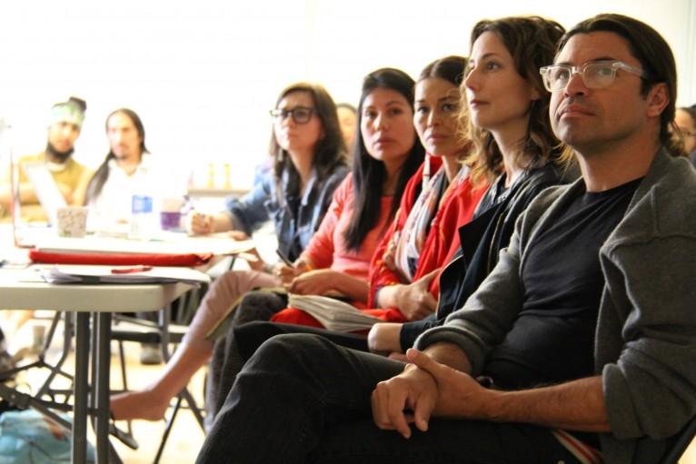 Tanya Lukin Linklater, Karyn Recollet, Rulan Tangen, Julie Burelle, Sam Mitchell. Photo by Mique'l Dangeli